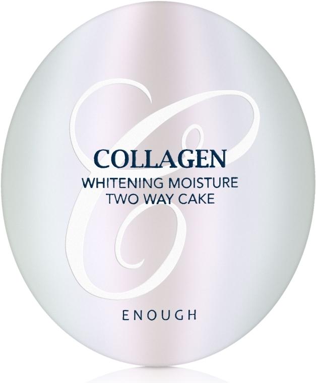 Пудра с коллагеном со сменным блоком для лица Enough Collagen 3 in 1 Whitening Moisture Two Way Cake SPF28, тон 21,  2x13g 3 - Фото 3