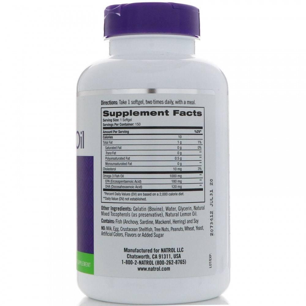 Рыбий Жир Омега-3 Со Вкусом Лимона Natrol Omega-3 Fish Oil 150 капсул
