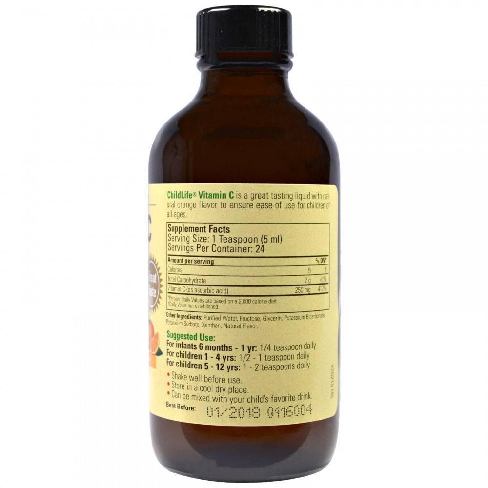 Жидкий Витамин С Для Детей С Натуральным Апельсиновым Вкусом ChildLife Vitamin C