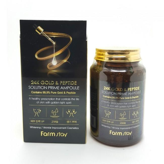Сыворотка омолаживающая с пептидами и золотом FarmStay 24K Gold & Peptide Solution Prime Ampoule 250ml 0 - Фото 1