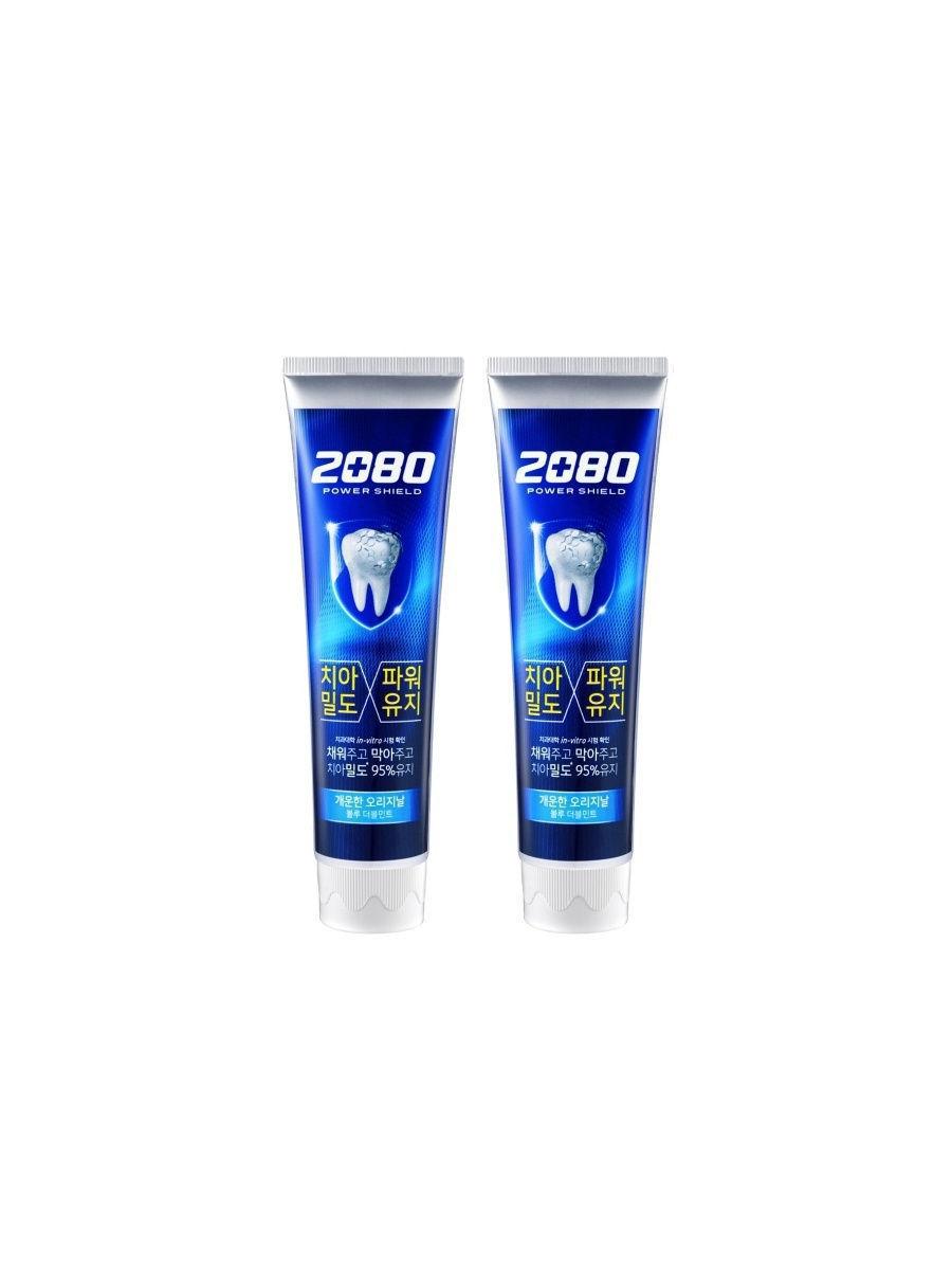 Зубная паста укрепляющая с экстрактом мяты 2080  Power Shield Blue Double Mint 120ml  2 - Фото 2