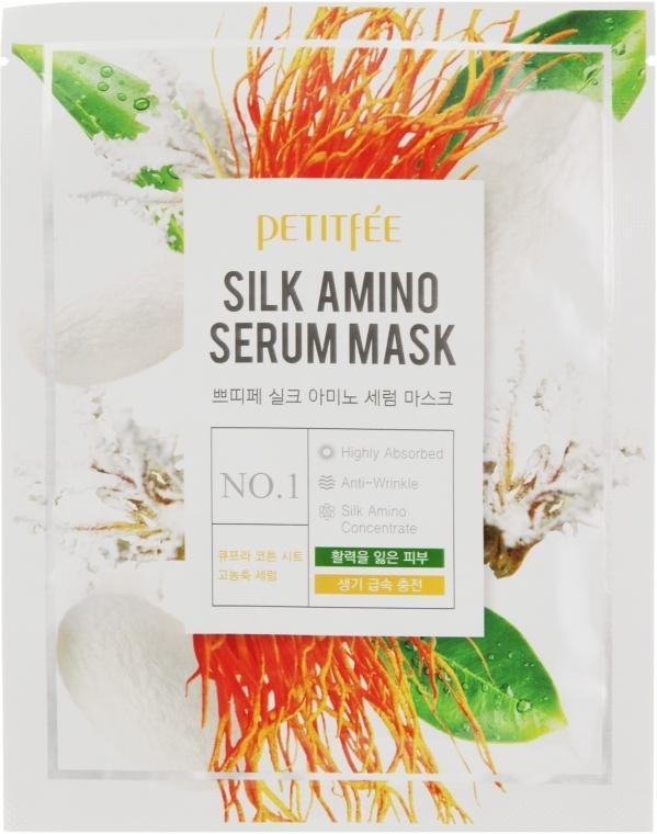 Маска тканевая восстанавливающая с протеинами для лица Petitfee&Koelf  Silk Amino Serum Mask 25g 2 - Фото 2