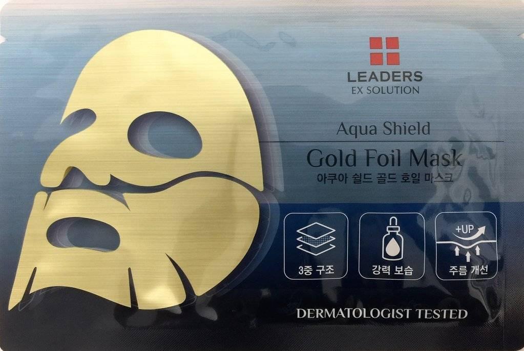 Профессиональна Увлажняющая Золотая Маска С Экстрактом Центеллы Ex Solution Aqua Shield Gold Foil Mask Leaders Insolution