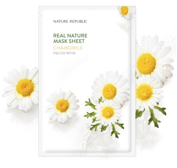 Успокаивающая тканевая маска с экстрактом ромашки Nature Republic Real Nature Mask Sheet Chamomile 23ml 0 - Фото 1