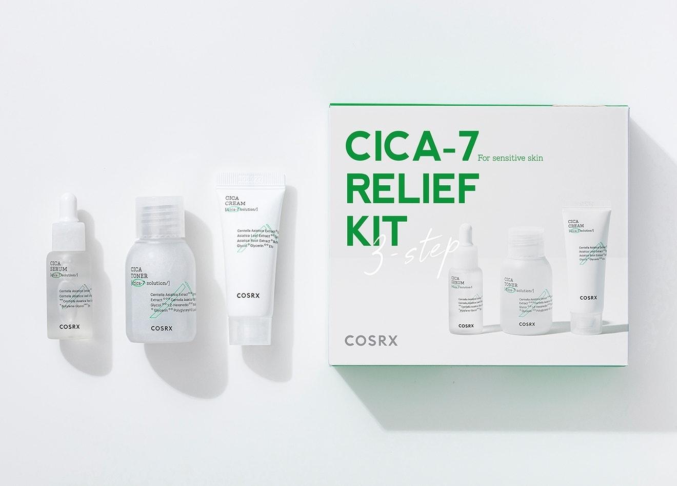 Набор: тонер, сыворотка и крем успокаивающие с экстрактом центеллы Cosrx CICA-7 Relief Kit (3 step) 55ml 0 - Фото 1