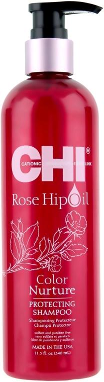 Шампунь защитный с маслом шиповника для волос CHI Rose Hip Oil Color Nurture Protecting Shampoo 350ml 0 - Фото 1