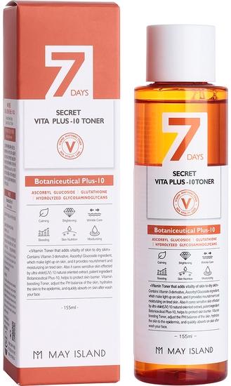 Мультивитаминный осветляющий тонер May Island Seven Days Secret Vita Plus-10 Toner 155ml