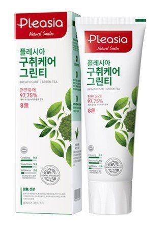 Зубная паста оздоравливающая с экстрактом зеленого чая Pleasia Green Tea Toothpaste 100 ml 0 - Фото 1