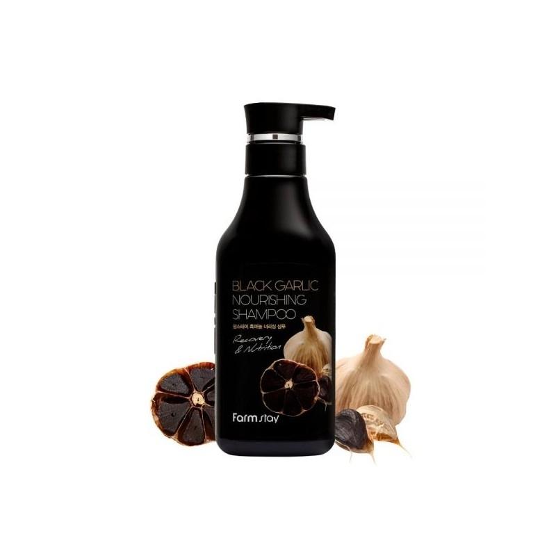 Шампунь питательный укрепляющий с экстрактом черного чеснока для волос FarmStay Black Garlic Nourishing Shampoo 530ml 0 - Фото 1