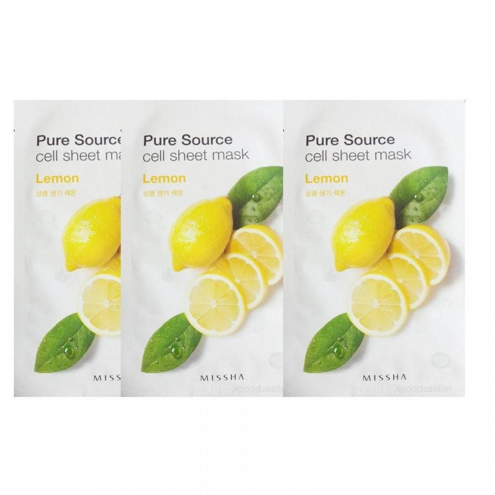 Маска тканевая осветляющая с экстрактом лимона Pure Source Cell Sheet Mask Lemon 21ml