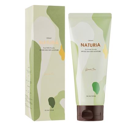 Скраб натуральный с экстрактом зеленого чая для тела Evas Naturia Creamy Oil Salt Scrub Green Tea 250ml 0 - Фото 1