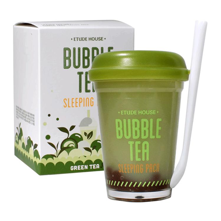 Ночная маска с экстрактом зеленого чая Etude House Bubble Tea Sleeping pack #Green Tea 100ml 0