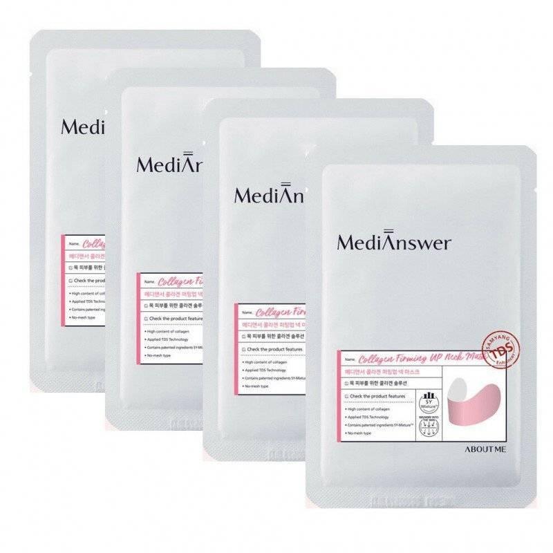 Маска для повышения тургора кожи шеи с коллагеном About Me MediAnswer  Collagen Firming Up Neck Mask 1 - Фото 2