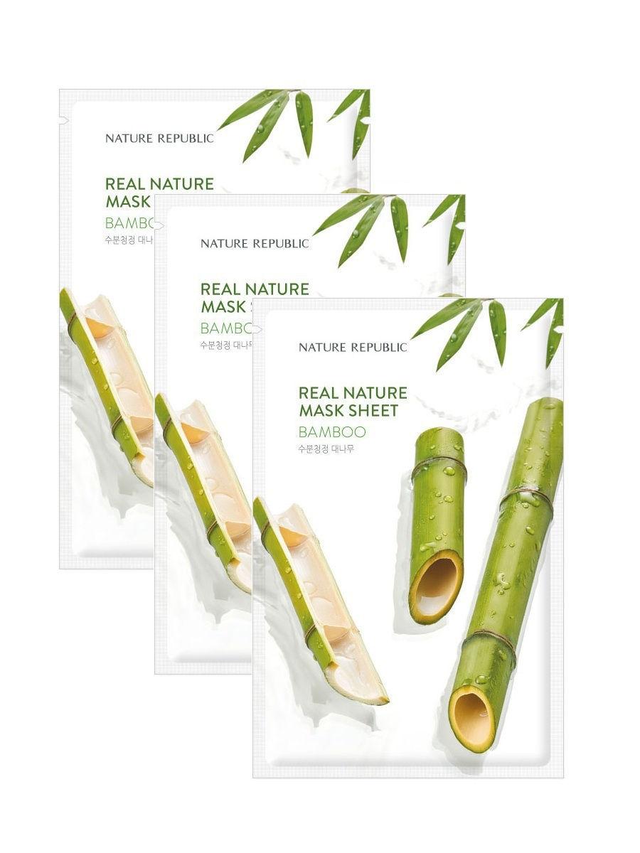 Восстанавливающая тканевая маска с экстрактом бамбука Nature Republic Real Nature Mask Sheet/ Bamboo 23ml 0 - Фото 1