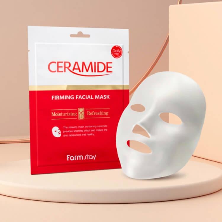 Маска тканевая укрепляющая для лица с керамидами FarmStay Ceramide Firming Facial Mask 27ml 2 - Фото 2