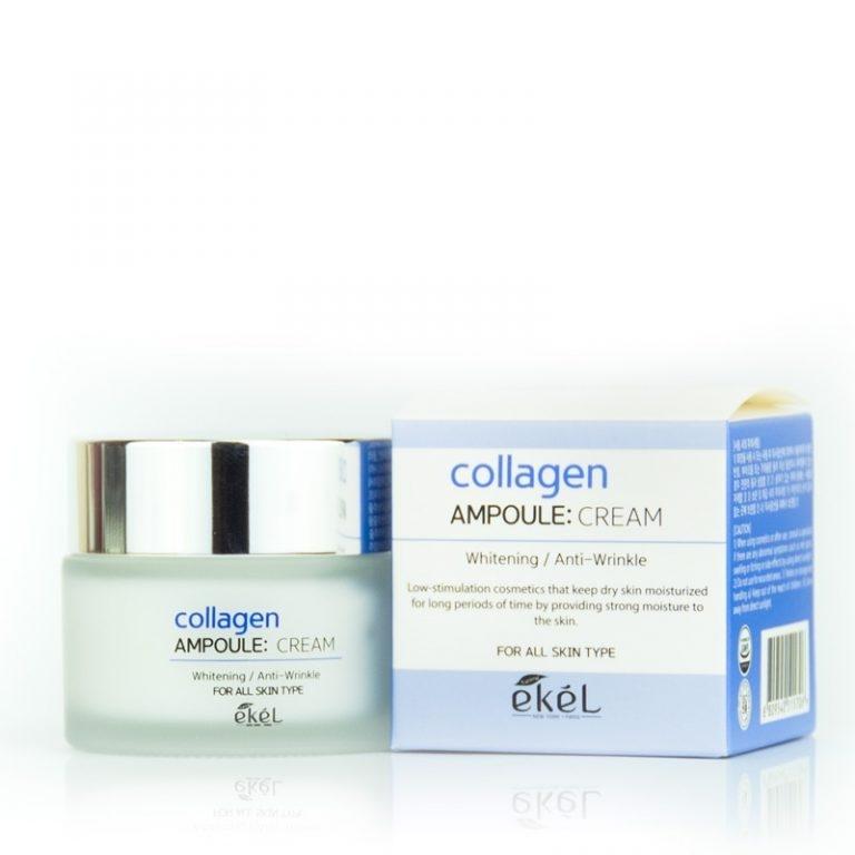 Крем ампульный для лица интенсивного увлажняющего действия с коллагеном Ekel Collagen Ampoule Cream 50ml 2 - Фото 2