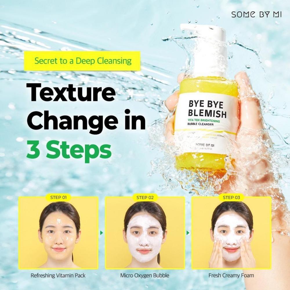 Маска-пенка для лица кислородная Some By Mi Bye Bye Blemish Vita Tox Brightening Bubble Cleanser 120ml 3 - Фото 3