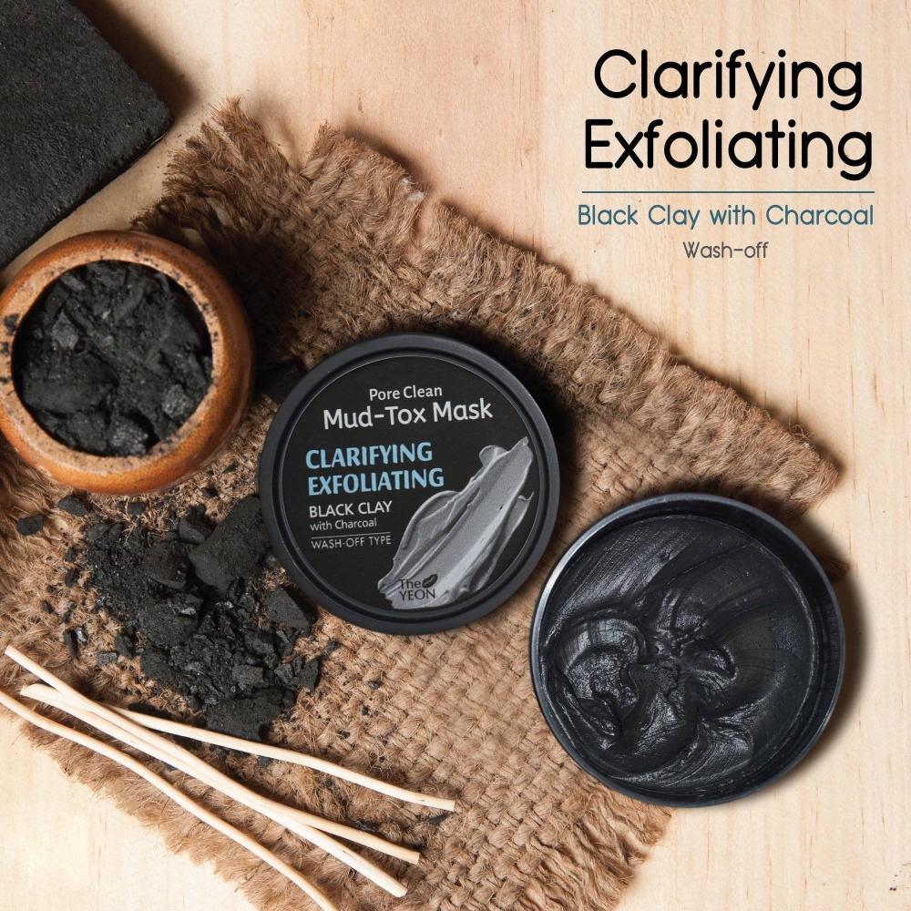 Маска-Детокс Глубоко Очищающая С Чёрной Глиной И Древесным Углём The YEON Pore Clean Mud-Tox Mask Black 80g