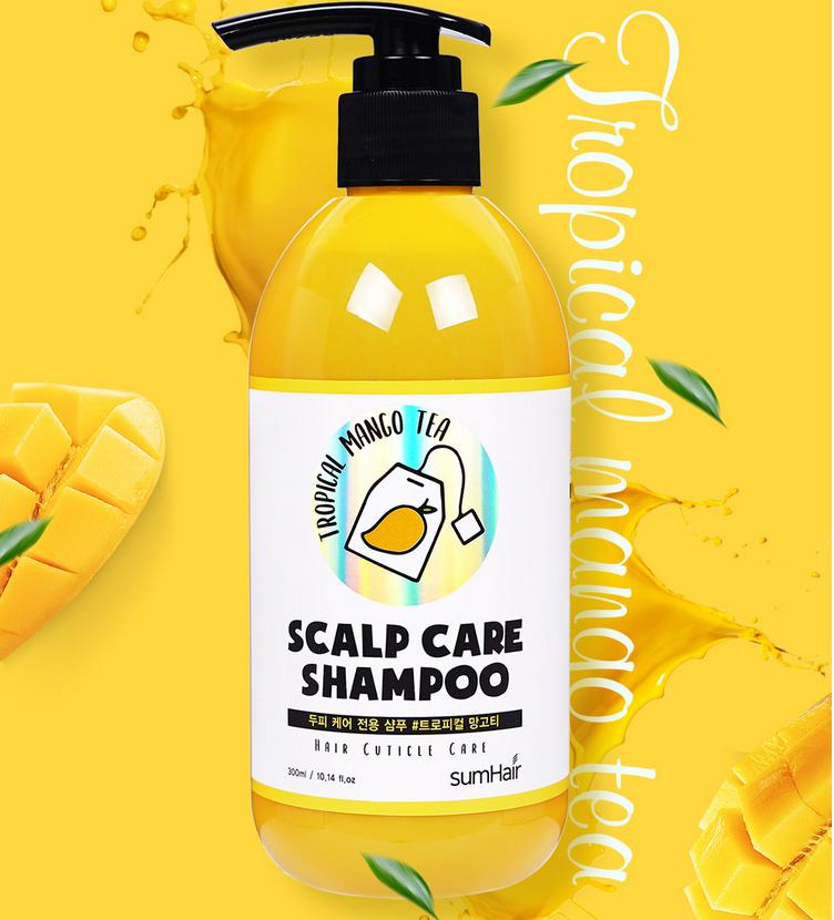 Шампунь успокаивающий с экстрактом манго для волос SUMHAIR Scalp Care Shampoo #Tropical Mango Tea 300ml 2 - Фото 2