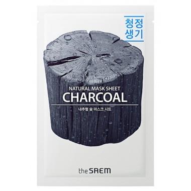 Маска тканевая очищающая с порошком древесного угля The Saem Natural Charcoal Mask Sheet 21ml 2 - Фото 1