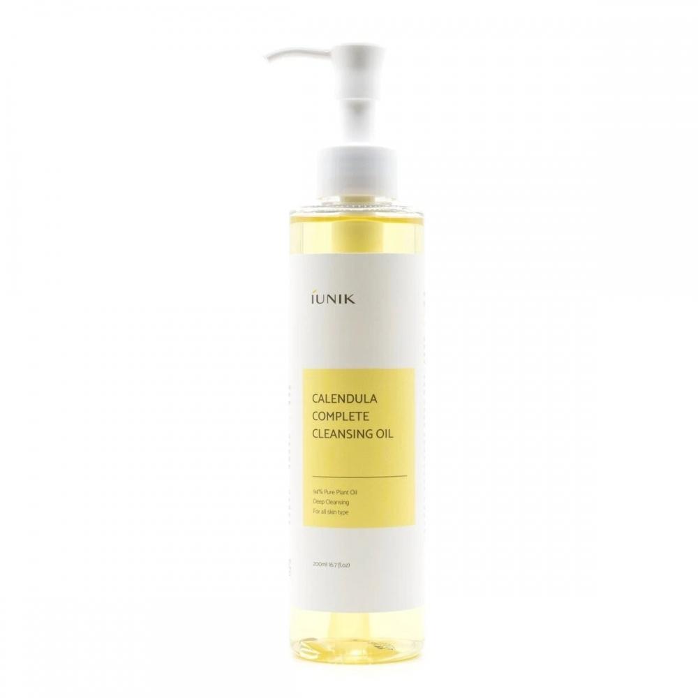 Масло гидрофильное успокаивающее для снятия макияжа и очищения кожи с календулой IUNIK Calendula Complete Cleansing Oil 200ml