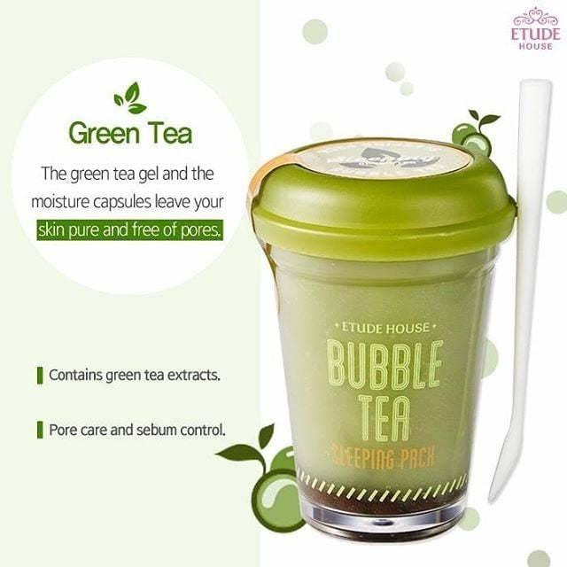 Ночная маска с экстрактом зеленого чая Etude House Bubble Tea Sleeping pack #Green Tea 100ml 6 - Фото 6