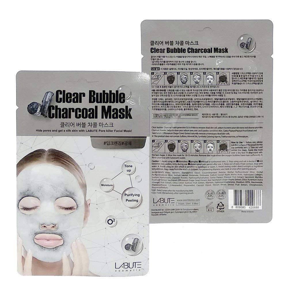 Очищающая Маска Кислородная C Древесным Углем LABUTE Clear Bubble Charcoal Mask 1 - Фото 2