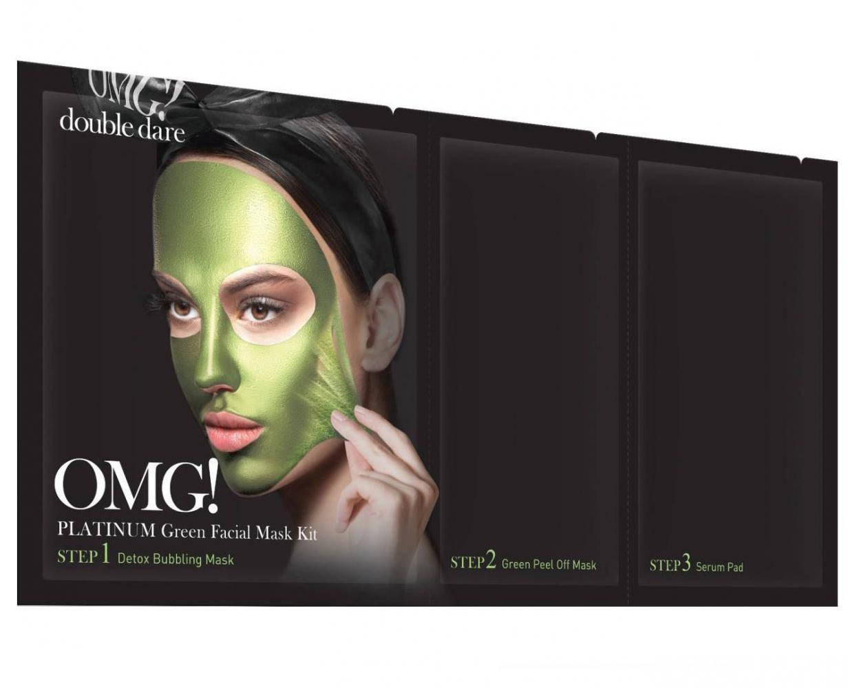 Трехшаговая Маска Очищающая С Экстрактом Ламинарии Double Dare OMG! 3 in 1 Platinum Green Facial Mask Kit 50g