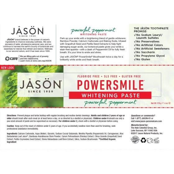 Органическая Отбеливающая Зубная Паста С Перечной Мятой Jason Natural PowerSmile 170мл 2 - Фото 2
