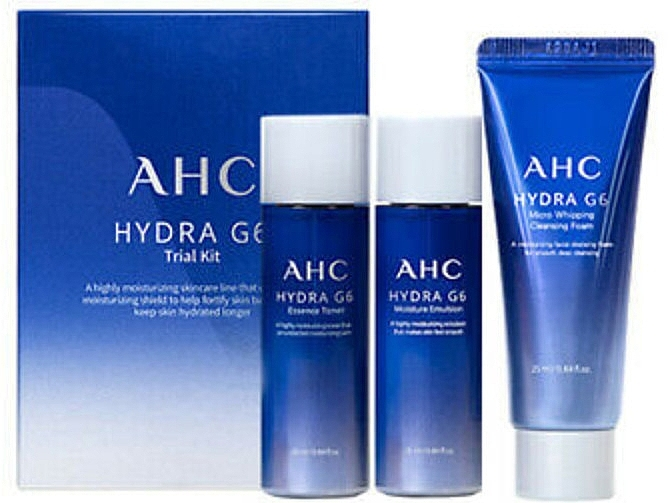 Набор миниатюр из увлажняющей пенки для умывания, увлажняющего тонера и увлажняющей эмульсии для лица Hydra G6 Trial Kit AHC 25ml + 25ml + 25ml 0 - Фото 1