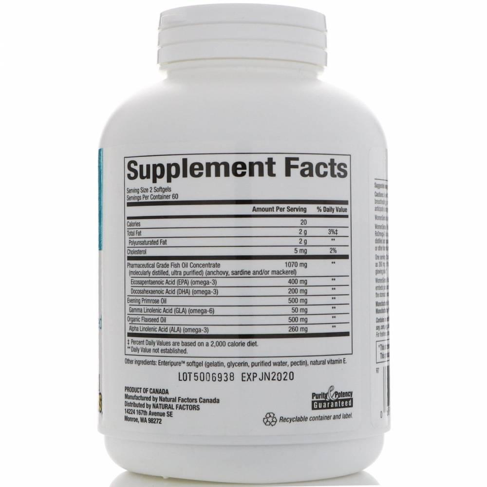 Пищевая Добавка Омега 3 Natural Factors WomenSense  RxOmega-3 120 мягких капсул  0