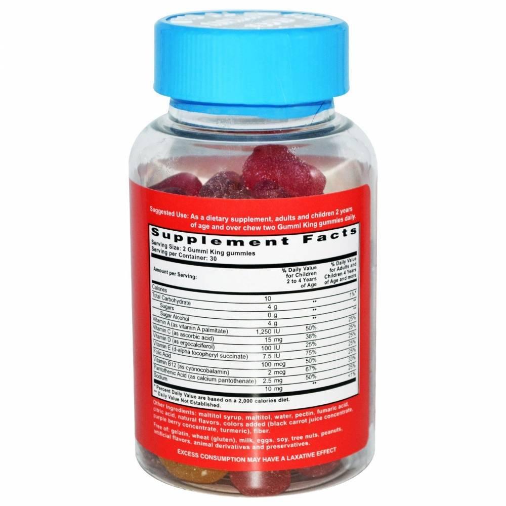 Мультивитамины Для Детей Gummi King Без Сахара 60шт