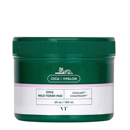 Тонер-пэды успокаивающие с экстрактом центеллы VT Cosmetics Cica Mild Toner Pad 60ea, 130ml 2 - Фото 2