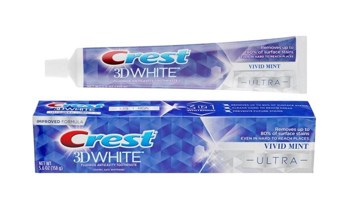 Паста зубная отбеливающая с защитой эмали  Crest 3D White Ultra Vivid Mint 150g 0 - Фото 1