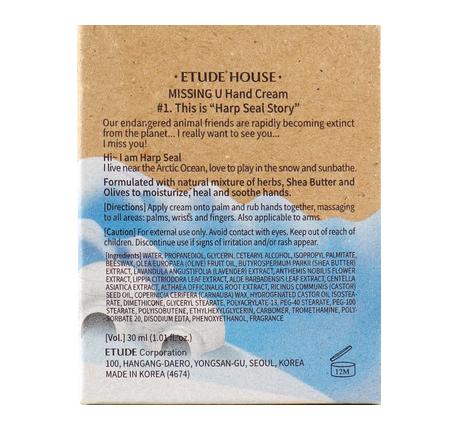 Крем для рук с ароматом натуральных трав и зеленого чая Etude House Missing U Hand Cream Harp Seals 30ml 4 - Фото 3