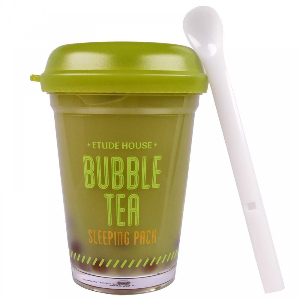 Ночная маска с экстрактом зеленого чая Etude House Bubble Tea Sleeping pack #Green Tea 100ml 1 - Фото 2