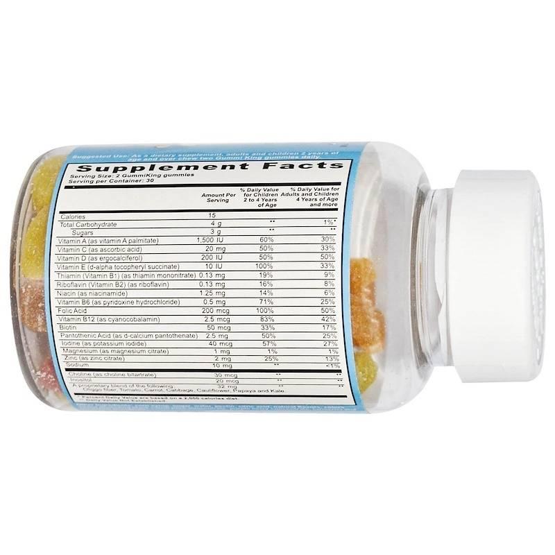 Мультивитамины И Минералы Для Детей С Овощами, Фруктами И Клетчаткой Gummi King Multi-Vitamin And Mineral Vegetables, Fruits And Fiber