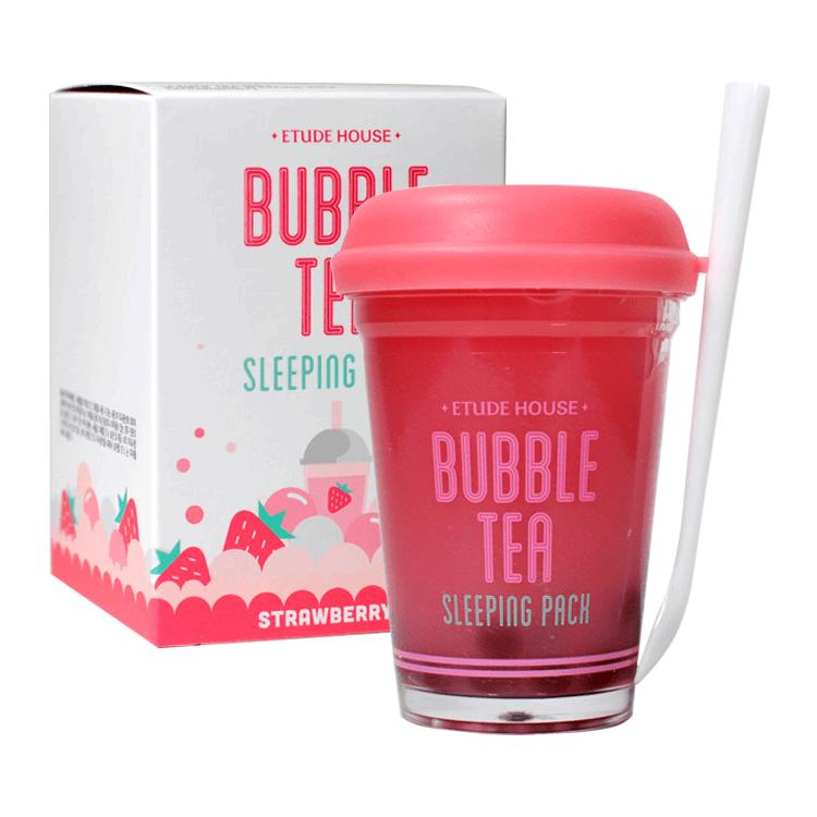 Ночная маска с экстрактом клубники Etude House Bubble Tea Sleeping Pack #Strawberry 100ml