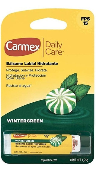 Бальзам для губ со вкусом мяты Carmex Daily Care Wintergreen lip balm stick SPF 15,  4.25g 0 - Фото 1