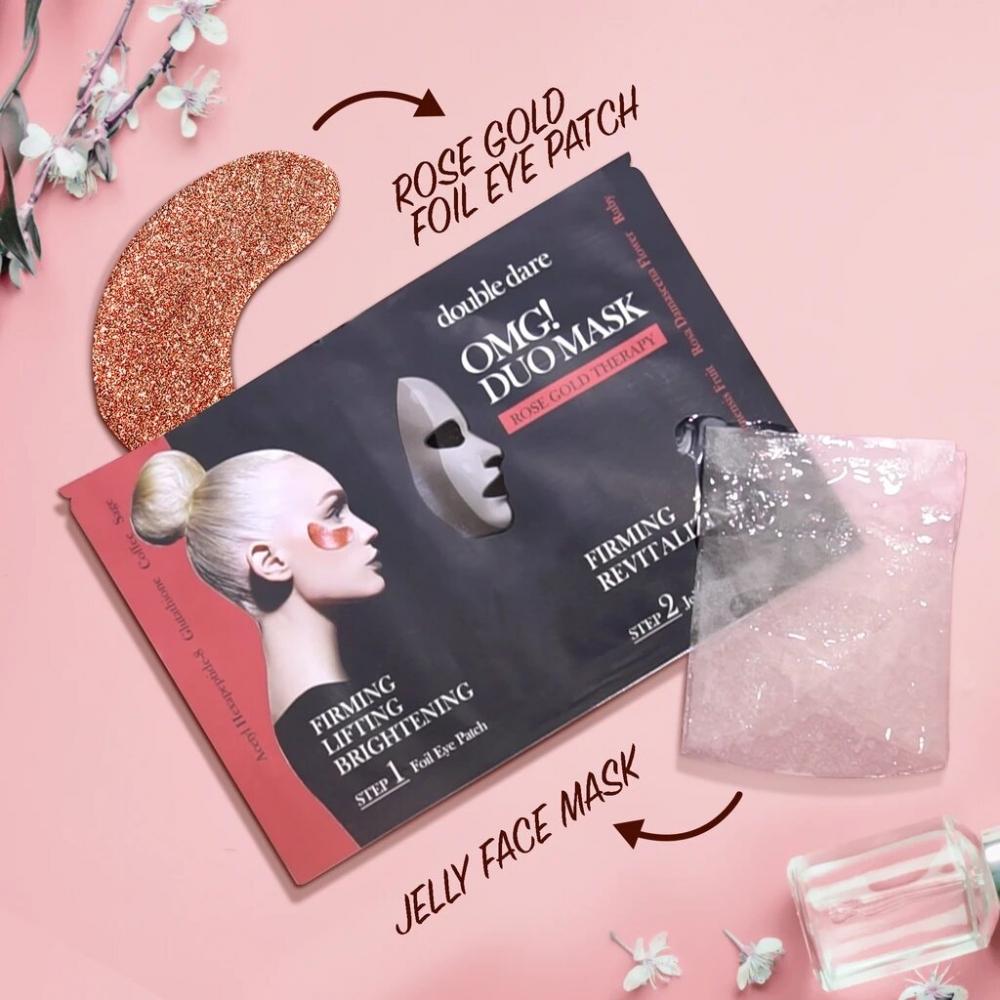 Комплекс из маски и патчей укрепляющий с рубиновой пудрой  Double Dare OMG! Duo Mask Rose Gold Therapy 29ml 1 - Фото 2