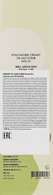 Скраб натуральный с экстрактом зеленого чая для тела Evas Naturia Creamy Oil Salt Scrub Green Tea 250ml 2 - Фото 2