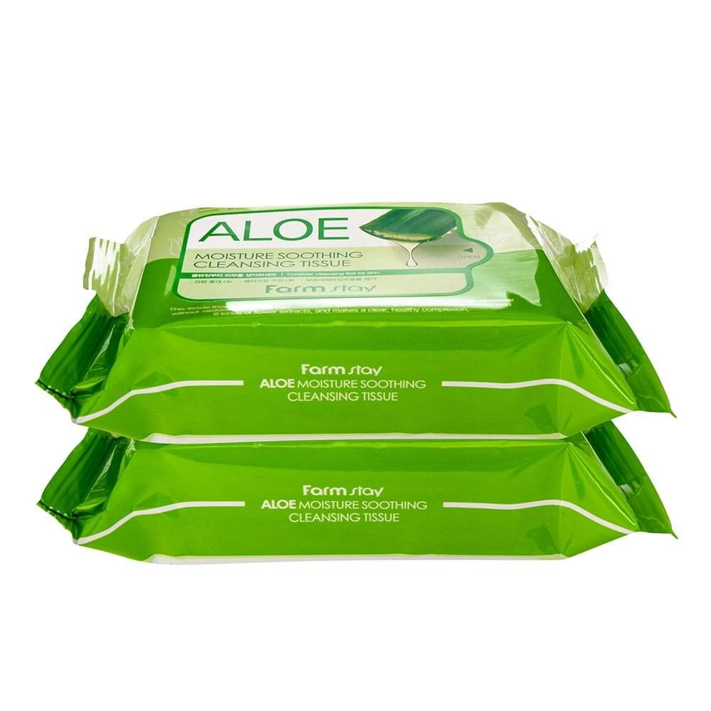 Салфетки очищающие, успокаивающие с экстрактом алоэ FarmStay Aloe Moisture Soothing Cleansing Tissue 30шт 0 - Фото 1
