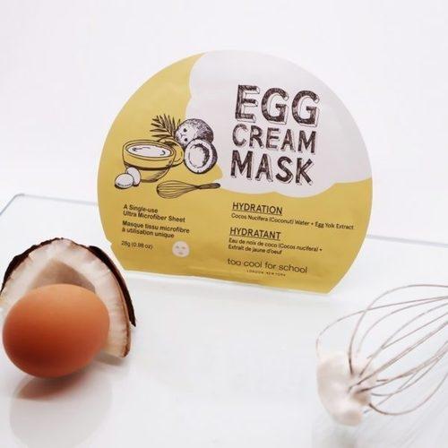 Маска тканевая для лица с эффектом глубокого увлажнения и яичным экстрактом Too Cool For School Egg Cream Mask Hydration 28g 0 - Фото 1