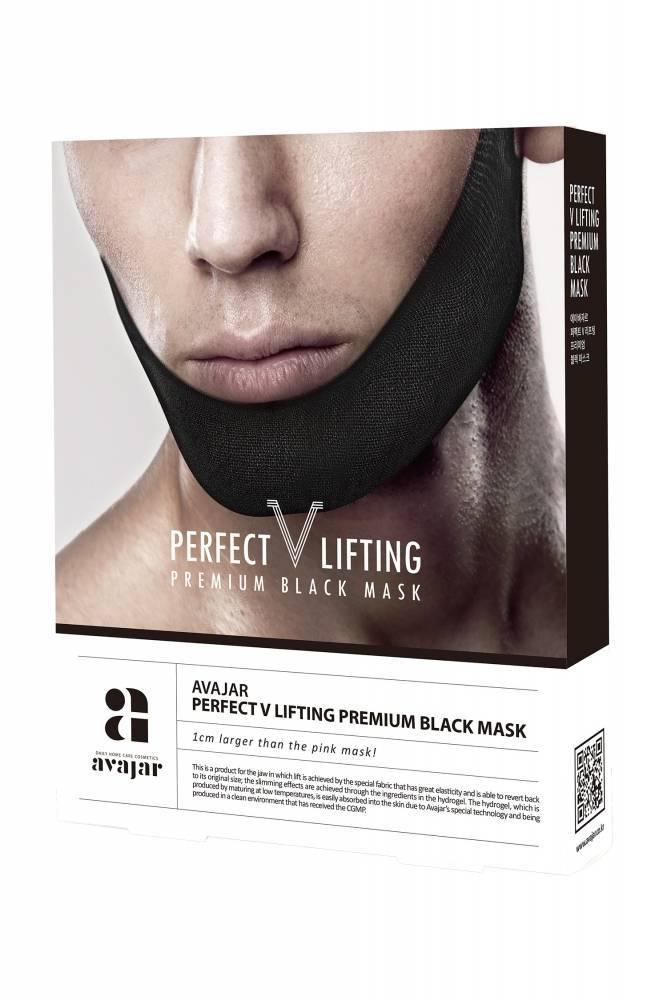 Маска Для Коррекции Овала Лица С Кофеином Avajar Perfect V Lifting Premium Black Mask