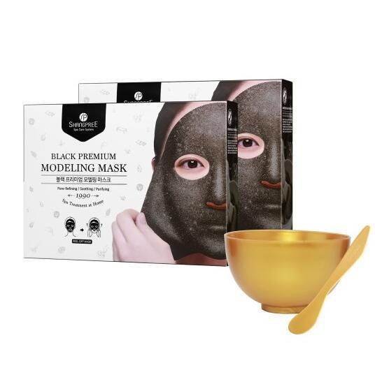 Маска-пленка для лица очищающая в наборе с чашей и лопаткой BLACK PREMIUM MODELING MASK (BOWL&SPATULA SET) SHANGPREE 50ml