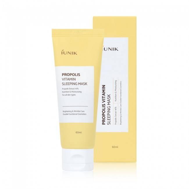 Маска ночная для комплексного оздоровления кожи с прополисом и экстрактом облепихи IUNIK Propolis Vitamin Sleeping Mask 60ml