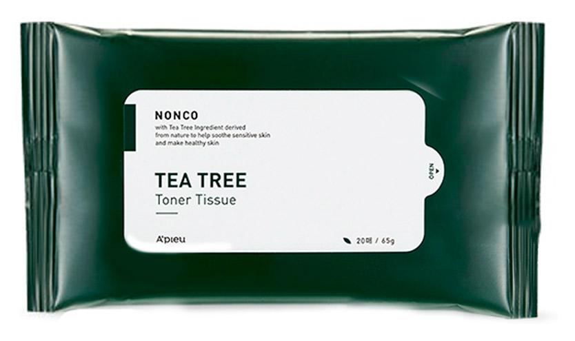 Салфетки тонизирующие с маслом чайного дерева для проблемной кожи A'pieu Nonco Tea Tree Toner Tissue 20шт