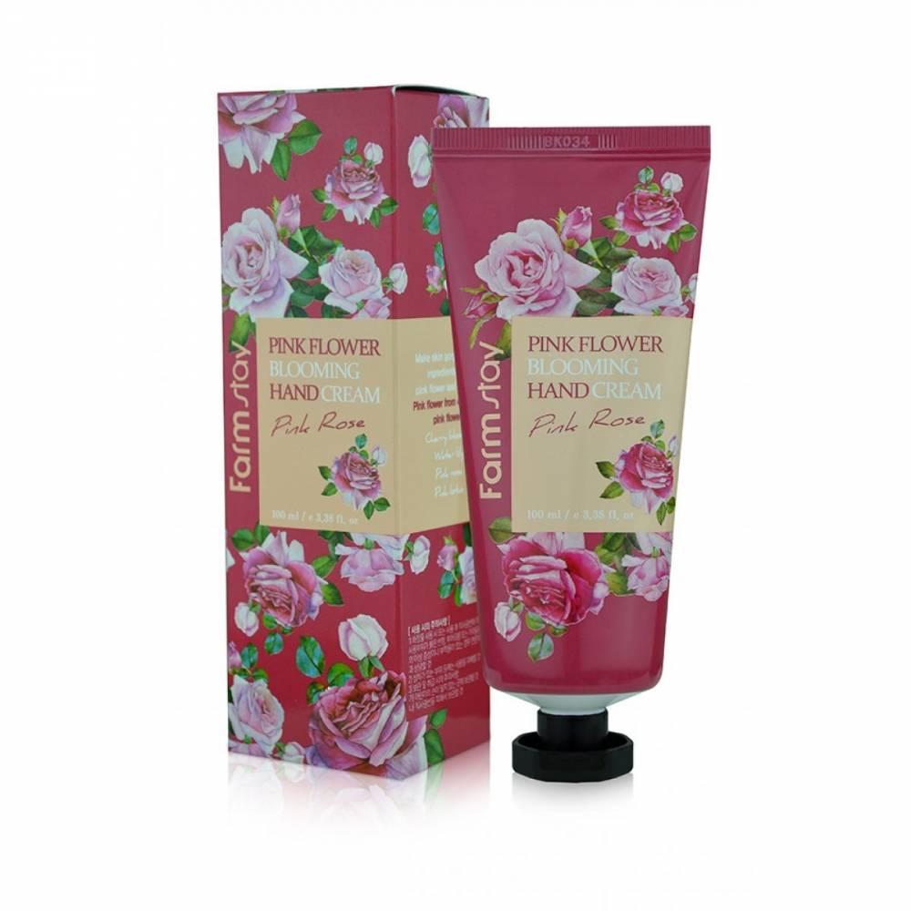 Крем для рук увлажняющий и успокаивающий с экстрактом розы FarmStay Pink Flower Blooming Hand Cream Pink Rose 100ml