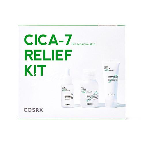 Набор: тонер, сыворотка и крем успокаивающие с экстрактом центеллы Cosrx CICA-7 Relief Kit (3 step) 55ml