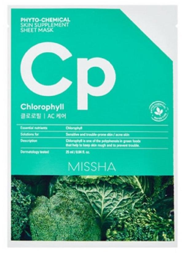 Тканевая фитохимическая маска с хлорофиллом для омоложения и питания кожи Missha Phytochemical Skin Supplement Sheet Mask Chlorophyll/AC Care 25ml